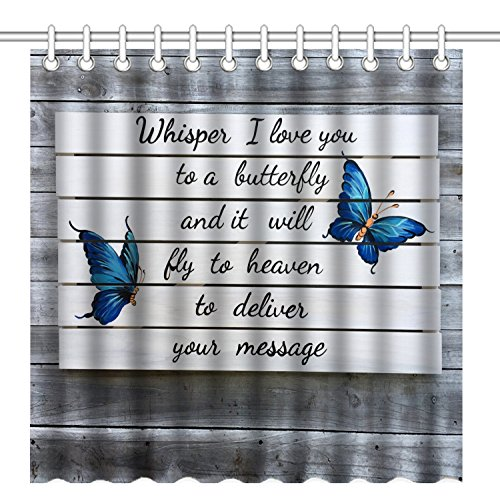 Wknoon 72 x 72 Inch Shower Curtain, Love Quotes Blue Butterfly on Vintage Grey Wood, Whisper I Love You to a Butterfly and it Will Fly to Heaven to Deliver Your Message]()