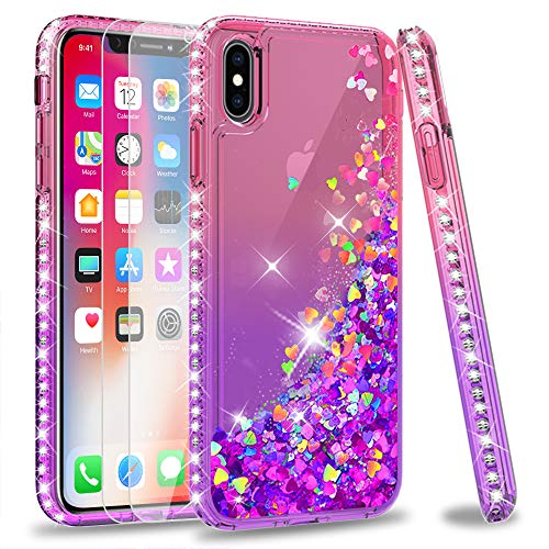 iPhone Xs Max Case with Tempered Glass Screen Protector [2 Pack] for Girls Women, LeYi Glitter Bling Clear Diamond Liquid Protective Phone Case for Apple iPhone Xs Max/ 10Xs Max (6.5) ZX Pink/Purple