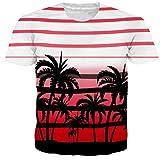 Alistyle Mens Boys Teens Strips Printed Coconut Tree Pattern Short Sleeve Cool T-Shirt Tees Large