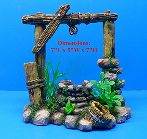 (Rustic Wishing Well Log Framed ON Rock Base WR094 Hand Painted Aquarium Ornament)