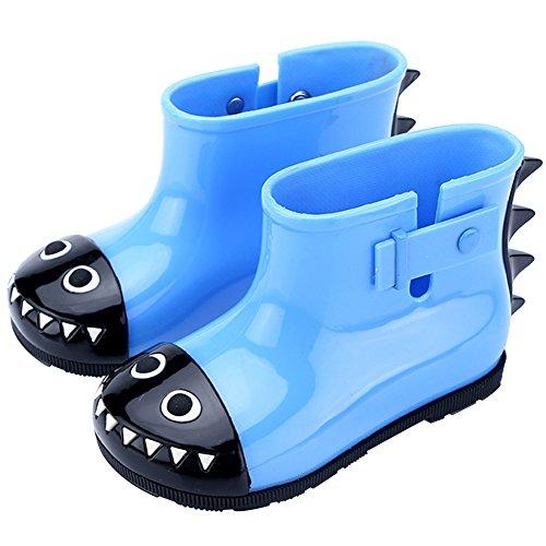Mädchen Jungen Gummistiefel Kinder Kurzschaft Regenstiefel Kuschelige Cartoon Kinderstiefel Baby Wasserdicht Stiefel Rain Boots Blau Krokodil