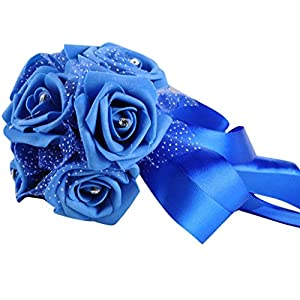 Fullkang Crystal Roses Pearl Artificial Silk Flowers For Bridesmaid Wedding Bouquet Bridal 107