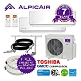 AlpicAir Multi Dual-Zone Ductless Mini-Split System 18,000 BTU Inverter Heat Pump (12k+12k)