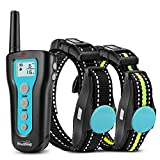 Dog Training Collars with Remote 1000ft Control Range Waterproof & Rechargeable Dog Shock 2 Collars with Beep Vibration Safe Electric Shock Collar for Small Medium Large Dogs