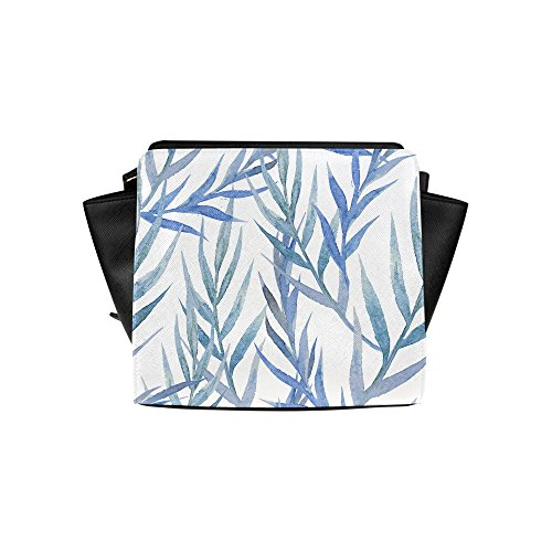 Meincare Women's Beautiful Tropic Pattern With Blue Leafs Pu Leather Satchel Bag