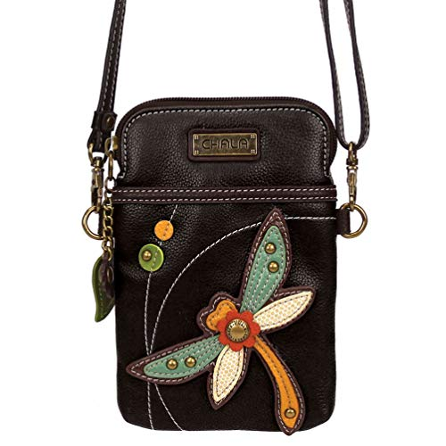 Chala Crossbody Cell Phone Purse - Women PU Leather Multicolor Handbag with Adjustable Strap - Dragonfly - Black ()