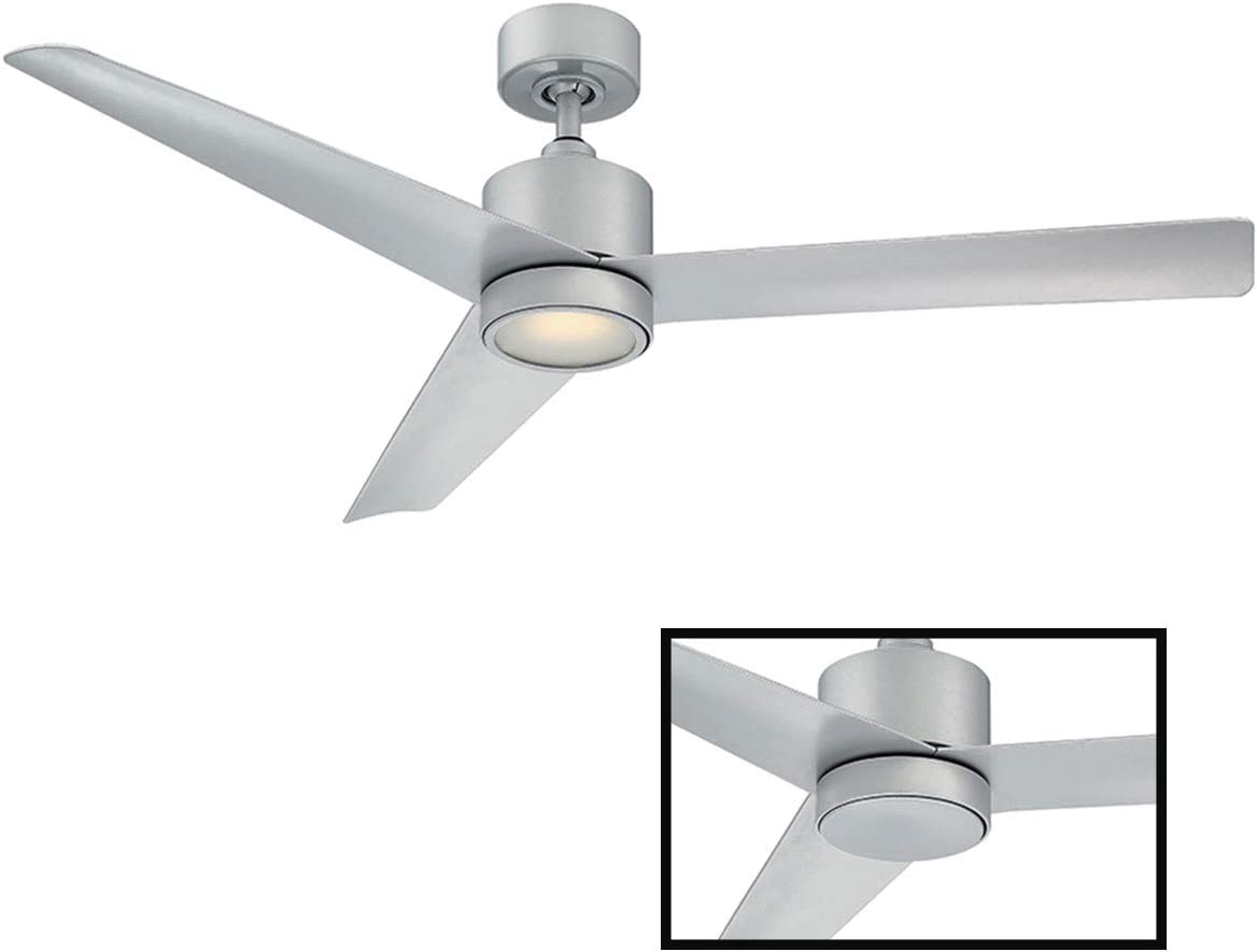 Lotus Indoor Outdoor 3-Blade Smart Ceiling Fan 54in Titanium Silver with 3500K LED Light Kit and Wall Control works with iOS Android, Alexa, Google Assistant, Samsung SmartThings, and Ecobee