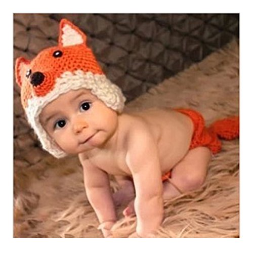 Axixi Cute Newborn Costume Crochet Outfits Baby Photograph Props (gray+red)