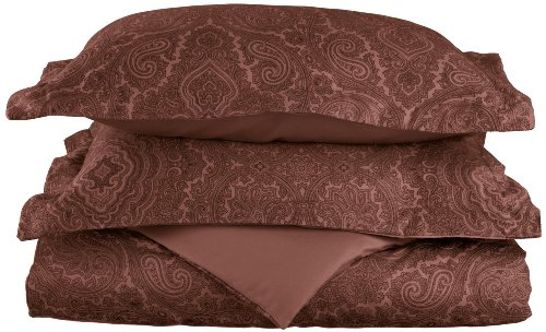 Cotton Blend 600 Thread Count, Soft, Wrinkle Resistant 2-Piece Twin Duvet Cover Set, Paisley, Chocolate