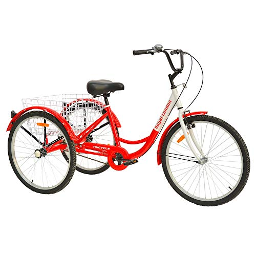 Royal London Adult Tricycle 3 Wheeled Trike Bicycle w/Wire Shopping Basket Red