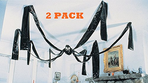 Fun Express Hanging Halloween Plastic Spiders, 20 Foot Hanging Ceiling Spider (2) ()