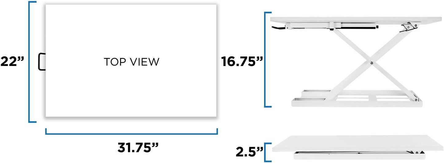 White Mount-It Standing Desk Converter Height Adjustable Sit Stand Desk 32x22 Inch Preassembled Stand Up Desk Converter Ultra Low Profile Design