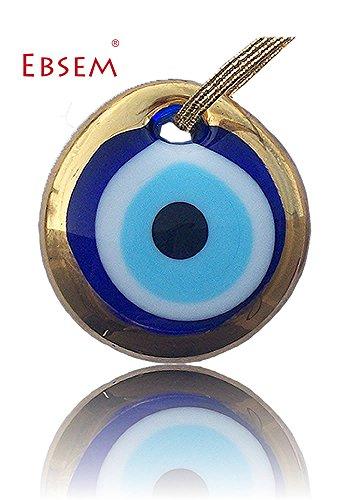 - Gold Gilt Handmade Evil Eye Glass Charm decorative ornament (2 inche)