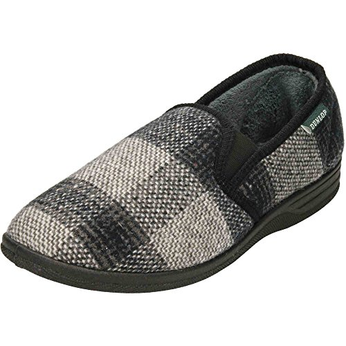Dunlop Warm Lined Twin Gusset Slippers Grey IergKL
