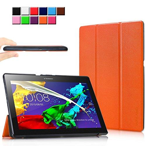 Infiland Lenovo Tab 2 A10-70 / Tab 2 A10-30 / Tab 3 10 Business Hülle Case, Ultra Dünn Tri-Fold Smart-Muschel PU Leder Schutzhülle für Lenovo Tab 2 A10-70 / Tab 2 A10-30 / Tab 3 10 Business 10,1 Zoll Tablet (mit Auto Schlaf / Wach Funktion)(Orange)