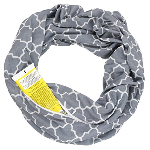 Womens Infinity Scarf w/Zipper Pocket & Pattern Print, Infinity Scarves - Grey Scarf