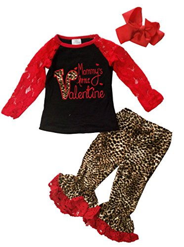 Baby Little Girl Valentines Day Outfit Leopard Lace