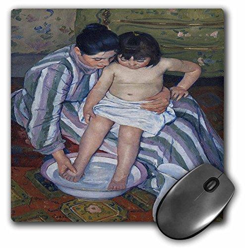 Alfombrilla de mouse 3D con acabado mate de rosa – 8 x 8 pulgadas, Pintando cuando se bañan los niños por Mary Cassette,...