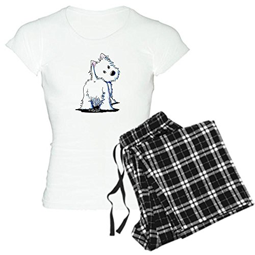 Plaid Pant Ladies Highland (CafePress - KiniArt Fluffybutt Westie Women's Light Pajamas - Womens Novelty Cotton Pajama Set, Comfortable PJ Sleepwear)