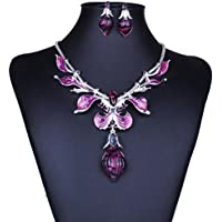 Voberry Women Elegant Vintage Leaves Rhinestone Necklace Statement Earrings Jewelry Set (Purple)