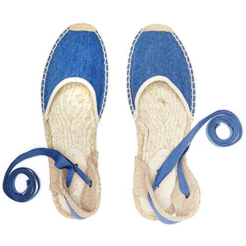 Slingback rismart Blue Women's Heel Flat Shoes Sandals Espadrilles RwBOvqnwa