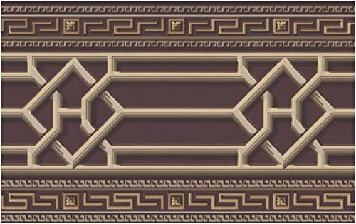 Wall Border - Beige Trellis Abstract Wallpaper Border Retro Design, Unpasted Roll 15 ft. x 7 in.