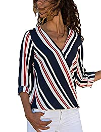 AoMoon Womens Casual V Neck Striped Chiffon Blouses Long Sleeve Wrap Tops Shirts