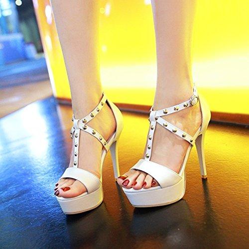 Abierto High Zapato T 5 Blanca Shoes Mujer Sandalias Party Heeled JUWOJIA Nuevo Verano 3 Talón Colores Correa Remaches Stiletto qz4tpE