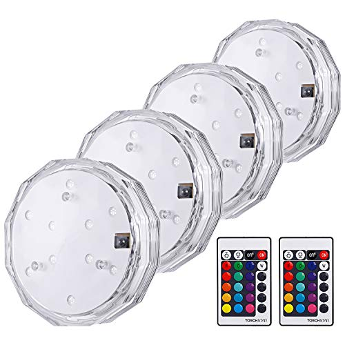 TORCHSTAR Submersible LED Lights, Waterproof Remote Controlled Battery Operated Wireless Multi-Color Underwater Lights, for Pond Pool Fountain, Bathtub, Event Party and Home Decoration, Pack of - Light Underwater Ring
