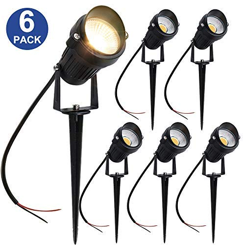 YGS-Tech 5W LED Landscape Lights 12V/24V Warm White Waterproof Low Voltage COB LED Outdoor Wall Spotlights for Garden, Yard, Lawn, Pathway (6 Pack) [並行輸入品] B07R8PW8HC