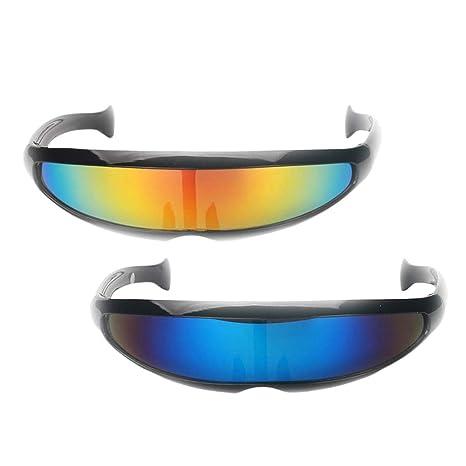 IPOTCH 2pcs Gafas de Sol Lentes Estrechas Futurista Marco ...