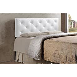 Bedroom Baxton Studio Wholesale Interiors Baltimore Modern and Contemporary Faux Leather Upholstered Headboard, King, White modern headboards