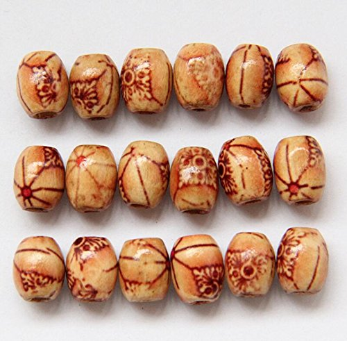 Happy Deocation 5 pcs Patterned Wooden Beads,7mm Hole Mixed Painted Wood Beads