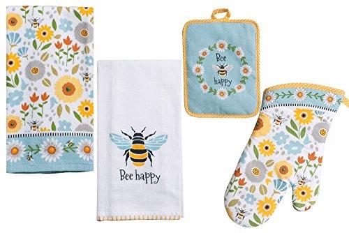 Bee Themed Kitchen Linens Set: Bundle Includes 1 Oven Mitt, 1 Potholder, 2 Kitchen Towels in a Garden Bee Happy Design
