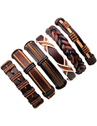 Mixed Stackable Braided Leather Cuff Bracelet for Men with Skull Charms,Adjustable