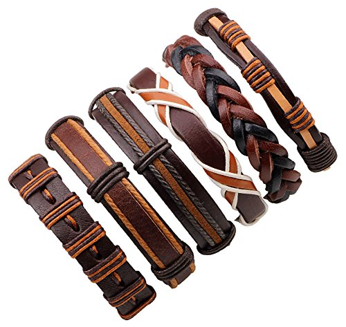 JF.JEWELRY 6-PCS Mixed Stackable Handmade Braided Leather Cuff Bracelet for Men-Brown,Adjustable