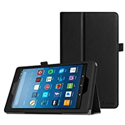 FINTIE Folio Case for Amazon Fire HD 8 Tablet (Compatible with 7th and 8th Generation Tablets, 2017 and 2018 Releases) – Slim Fit Vegan Leather Standing Protective Cover, Black