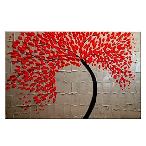 Wieco Art   Red Flower Large Modern 100   Hand Painted Stretched And Framed Abstract Floral Oil Paintings On Canvas Wall Art Ready To Hang For Living Room Bedroom Kitchen Dining Room Home Decorations