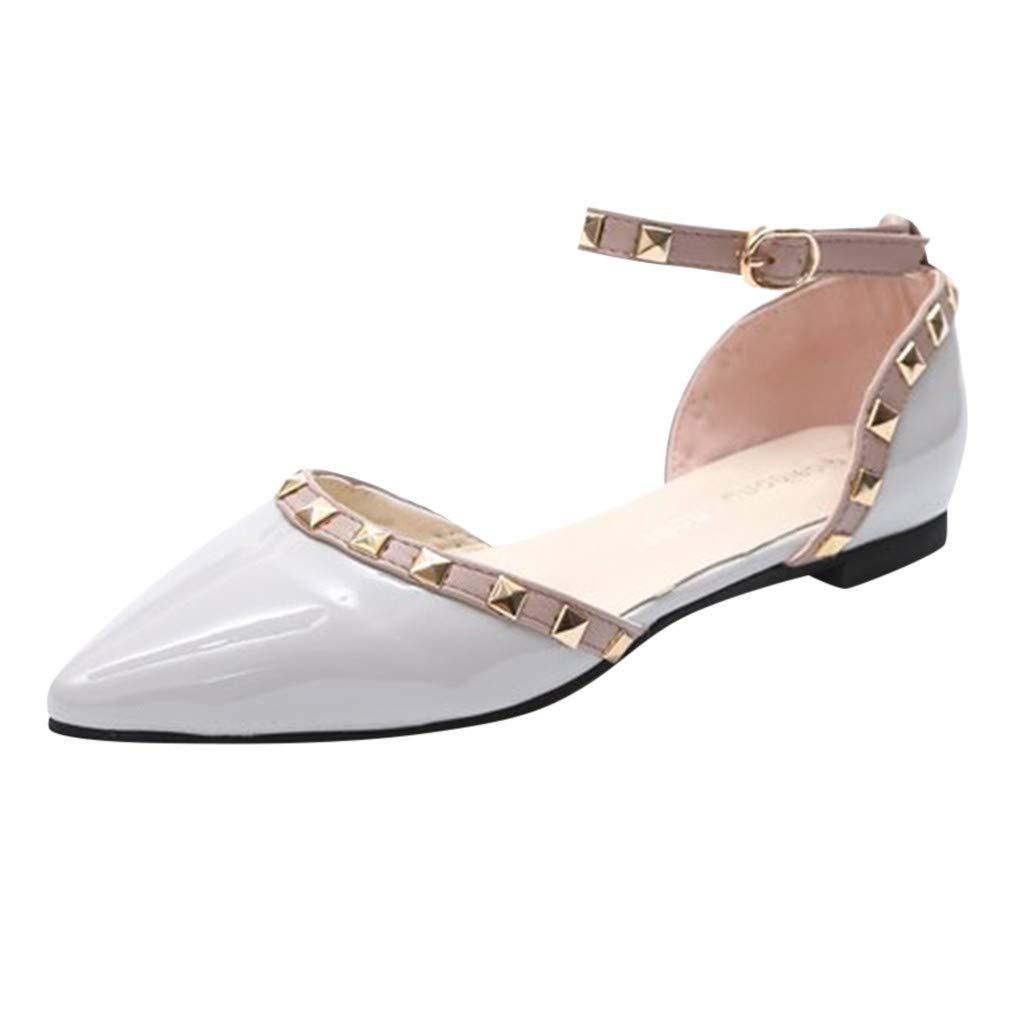 FAMILIZO Zapatillas Mujer Running Zapatillas Deportivas De Mujer Sneakers Women Primavera De Moda Casual Rivet Hebilla Correa Sandalias Punta Puntera Tacones Bajos Zapatos: Amazon.es: Zapatos y complementos