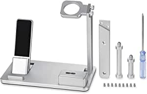 6 in 1 Apple Watch Stand Station Aluminum iWatch Charging Stand Dock Station Headphones Holder for Apple Watch Series 4/3/2/1/ AirPods/iphone x/8/8Plus/7/7 Plus /6S /6S Plus/ipad Grey Silver