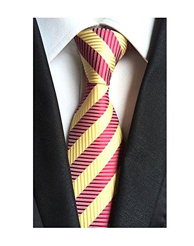 Plaid Striped Tie - FoMann Classic Necktie Black Gold Blue Striped Ties Mens Plaid Formal Tie (Burgundy)