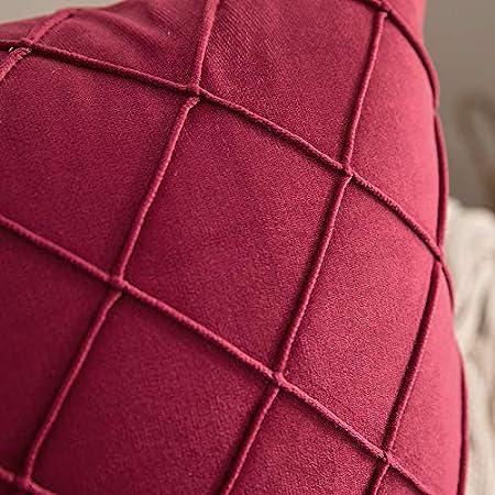 MIULEE 2 Piezas Funda de Cojines Terciopelo Suave Color Sólido Funda de Almohada Moderna Duradera Decoración para Habitacion Sofá Comedor Cama Dormitorio Oficina Sala de Estar 50x50cm Vino Rojo