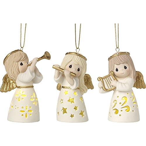 Three Angels Ornament - Precious Moments Angelic Trio Set of Three LED Lighted Angels Bisque Porcelain Ornaments 171037