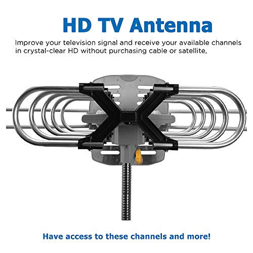 Vansky Outdoor 150 Mile Motorized 360 Degree Rotation OTA Amplified HD TV Antenna for 2 TVs Support - UHF/VHF/1080P Channels Wireless Remote Control - 32.8' Coax Cable (VS-OTX01)