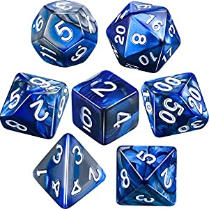 Polyhedral 7-Die Dice Set for Dungeons and Dragons with Black Pouch (Blue Gray)