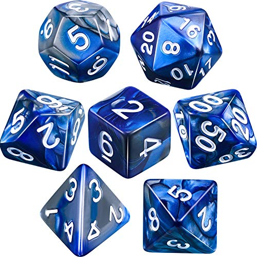 Polyhedral 7 Die Dungeons Dragons Silver