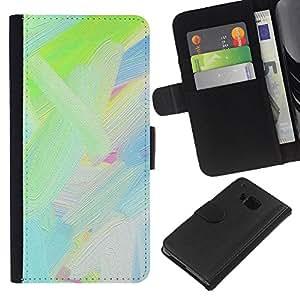 HTC One M9 Modelo colorido cuero carpeta tirón caso cubierta piel Holster Funda protección - Green Oil Color Blue White Paint Painting