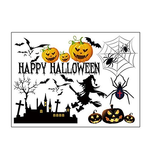 DealMux Halloween Pumpkin Witch Moon Bat Pattern Wall Sticker Decal Home Decor]()