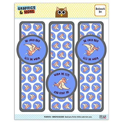 (The Early Bird Gets The Worm Funny Humor Set of 3 Glossy Laminated Bookmarks)