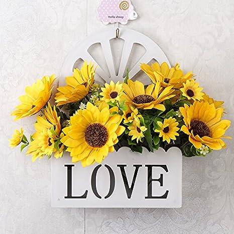 LLPXCC Flores artificiales Creativo casa floral mesa de comedor sala de estar de estilo europeo moderno sencillo flores decorativas para colgar en pared flores flores vid flor de seda balcón baloncest